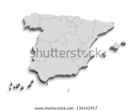3d Spain white map isolated