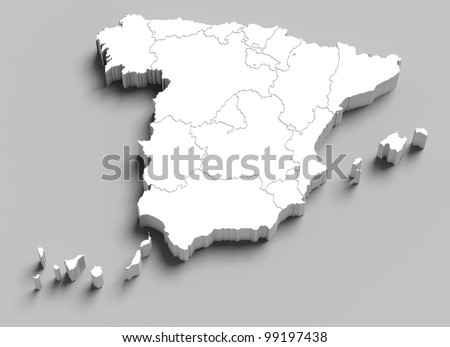 3d Spain white map on grey isolated