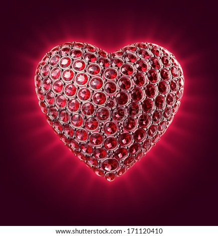 3d sparkling heart with ruby crystals, Valentines day clip art