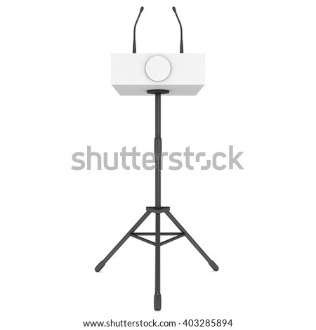 3d Speaker Podium on Tripod. White Tribune Rostrum Stand with Microphones. 3d render isolated on white background. Debate, press conference concept - stock photo