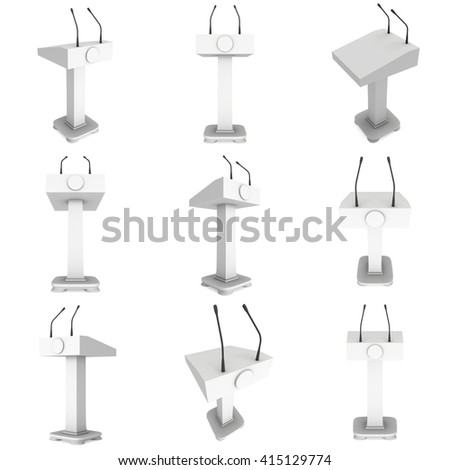 3d Speaker Podium Set. White Tribune Rostrum Stand with Microphones. 3d render isolated on white background. Debate, press conference concept - stock photo