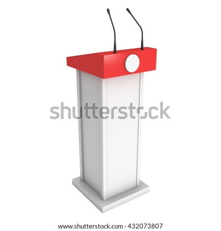 3d Speaker Podium. White and Red Tribune Rostrum Stand with Microphones. 3d render isolated on white background. Debate, press conference concept