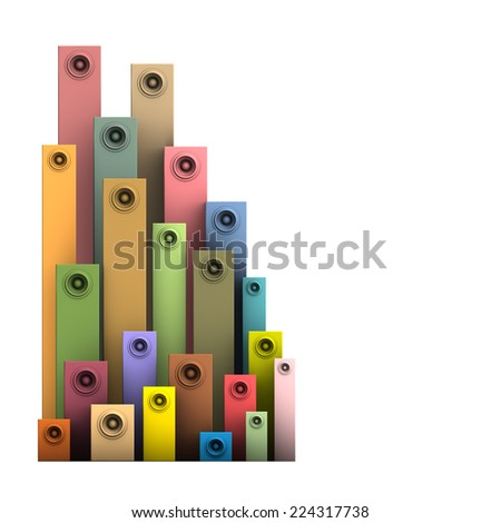 3d speaker sound system deejay DJ tools in multiple color - stock photo