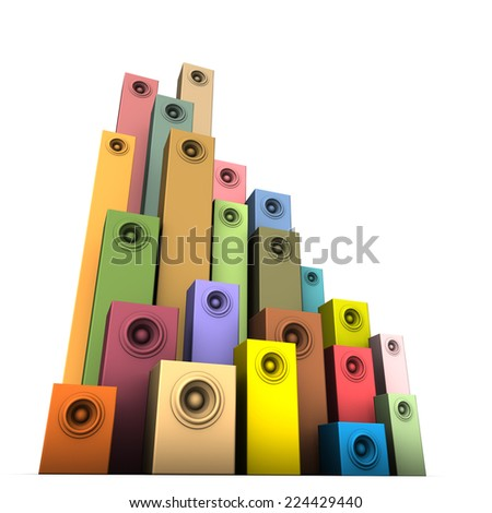 3d speaker sound system in multiple color over white - stock photo
