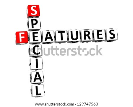 3D Special Features Crossword on white background