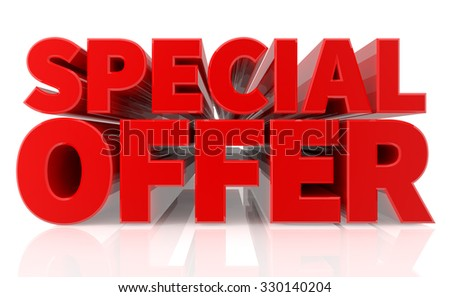 3D SPECIAL OFFER word on white background 3d rendering - stock photo