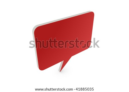 3D speech balloon with red front - stock photo