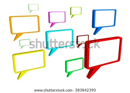 3D speech bubbles - great for topics like communication, conversation, speech, presentation, talking, chat, voice, message etc. - stock photo