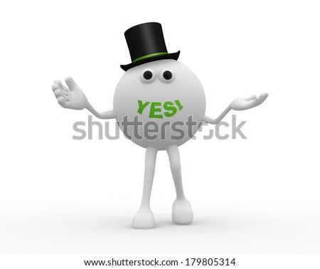 3d sphere and word YES - stock photo