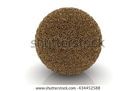 3D sphere made of many small golden balls isolated on white