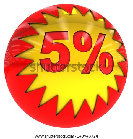 3d sphere with star and five percent rate with clipping path and isolated on white