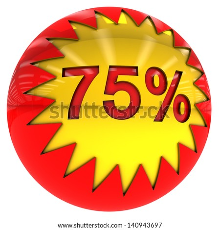 3d sphere with star and Seventy five percent rate with clipping path and isolated on white