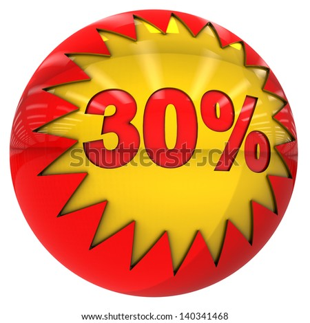 3d sphere with star and thirty percent with clipping path and isolated on white