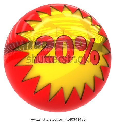 3d sphere with star and twenty percent with clipping path and isolated on white