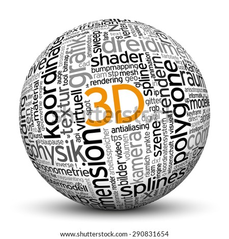 3D Sphere with Tag Cloud, Word Cloud imprint. Texture, Keywords, Ball. Words are in english and german. - stock photo