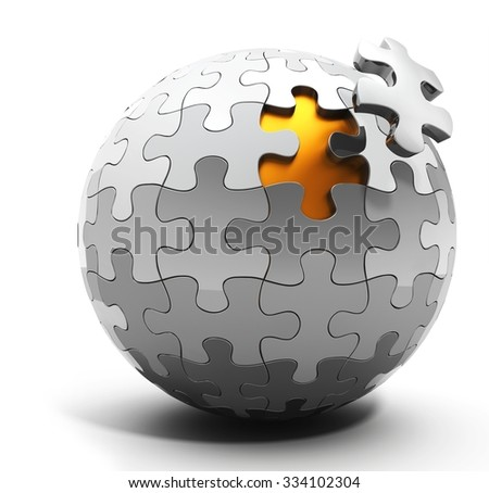 3d spherical puzzle with a single piece disconnected on white background