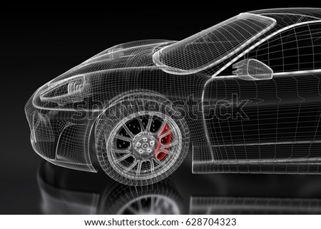 3 d sport car vehicle blueprint model stock illustration 628704323 3d sport car vehicle blueprint model with a red brake caliper on a black background malvernweather Image collections