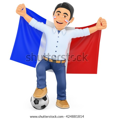 3d sport people illustration. Football fan with the flag of France. Isolated white background. - stock photo