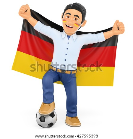 3d sport people illustration. Football fan with the flag of Germany. Isolated white background. - stock photo