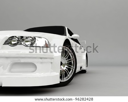 3D Sportcar isolated on gray background - stock photo
