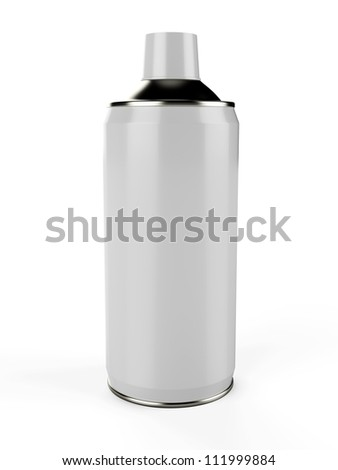 3D spray can isolated on white background - stock photo