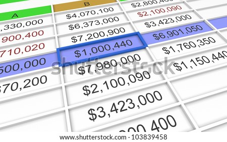 3d spreadsheet with one cell selected - stock photo