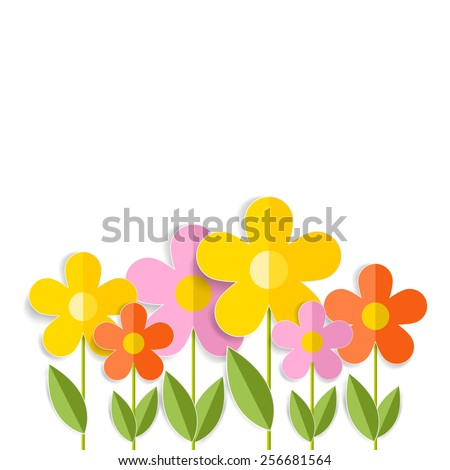 3d spring flowers isolated on white. Illustration format. - stock photo