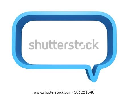3D Square bubbles speech blue color, design element. isolated - stock photo