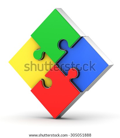 3d square puzzle on a white background - stock photo