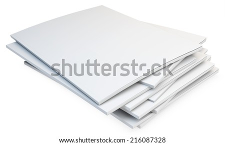 3d stack of blank catalogs, magazines on white background - stock photo