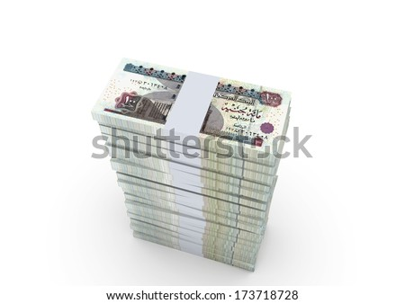 3d Stack of Egypt money in top of each other isolated in white background