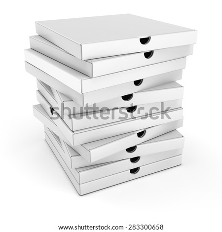 3d stack of pizza boxes on white background - stock photo