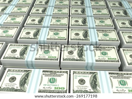 3D stack Piles of America money - stock photo