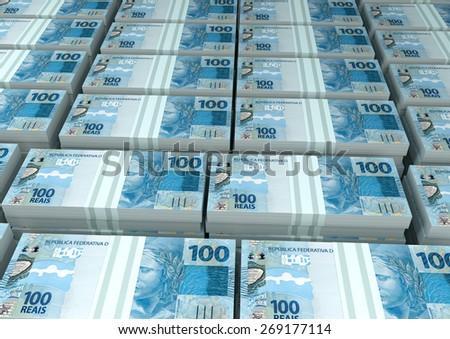 3D stack Piles of Brazil money - stock photo