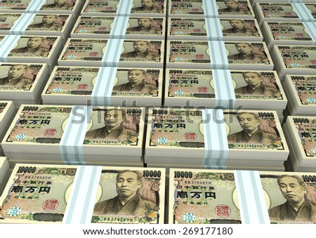 3D stack Piles of Japan money - stock photo