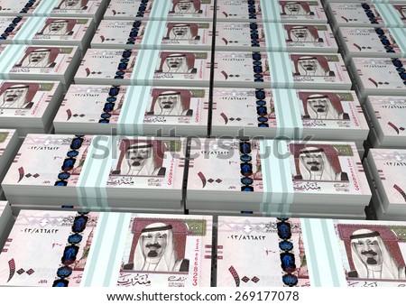 3D stack Piles of Kingdom of Saudi Arabia money - stock photo