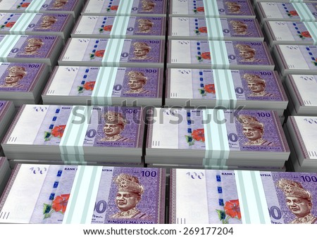 3D stack Piles of Malaysia money - stock photo
