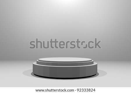3D stacked stage with light from above isolated grey dimmed room