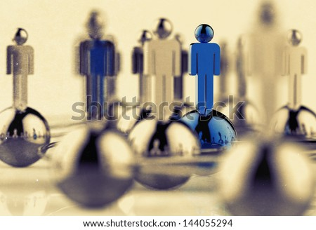 3d stainless human social network and leadership as vintage style - stock photo