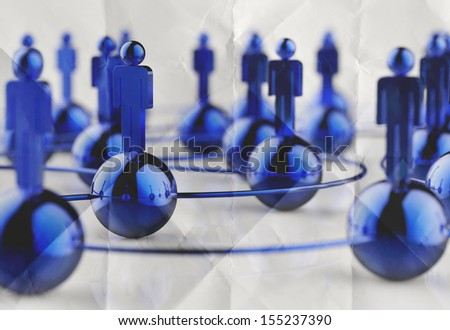 3d stainless human social network and leadership on crumpled paper as concept - stock photo