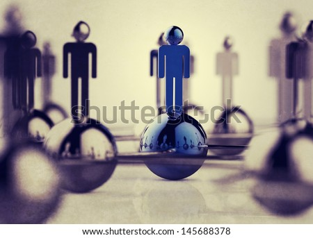 3d stainless human social network as vintage style concept - stock photo