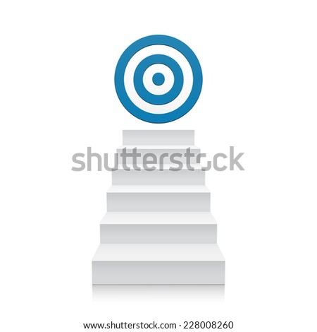3d stairs with blue target icon isolated on white background. Steps - stock photo