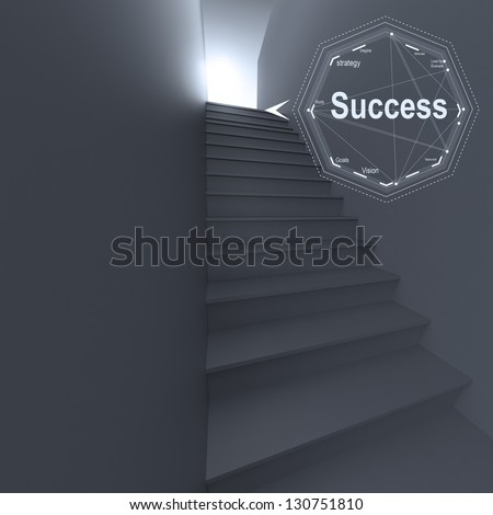 3d stairway to success as business concept - stock photo