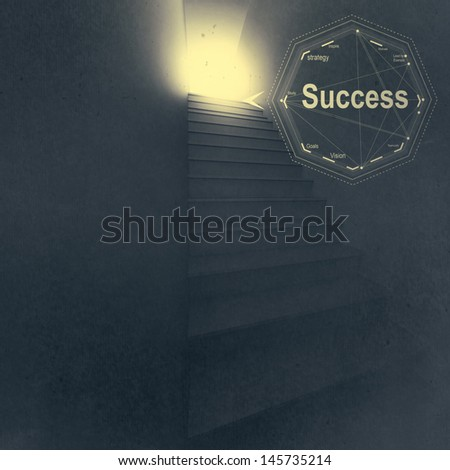 3d stairway to success as business vintage style concept - stock photo