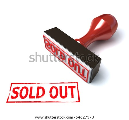 3d stamp sold out - stock photo