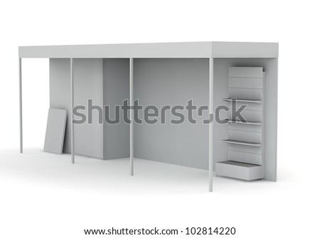 3D stand for advertising on a white background - stock photo