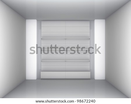 3d stand for exhibit in the grey interior - stock photo