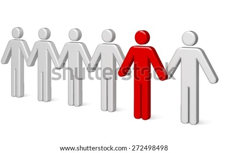 3D. Standing Out From The Crowd, Occupation, Waiting In Line. - stock photo
