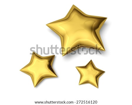 3D. Star, Gold, Christmas.