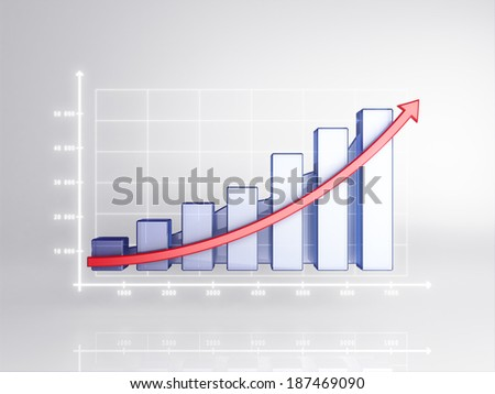 3D statistics, business profit on a white background - stock photo